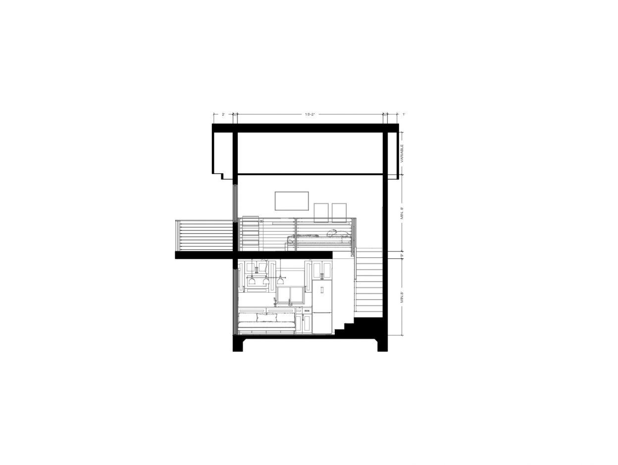 Side Elevation ADU 2 Levels 400 square feet for ADU Catalog by Multitaskr in San Diego County