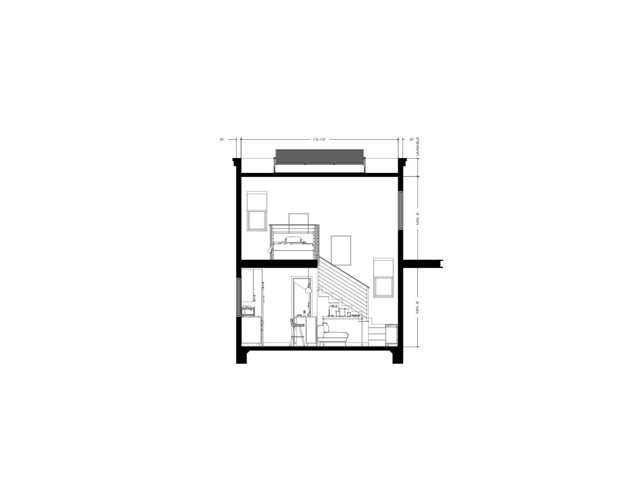Front Elevation ADU 2 Levels 400 square feet for ADU Catalog by Multitaskr in San Diego County
